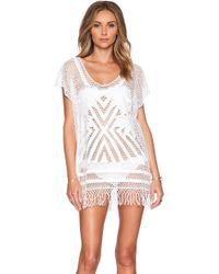Seafolly Miami Summer Caftan white - Lyst