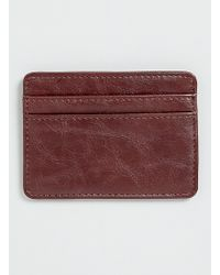 Topman Brown Leather Look Cardholder - Lyst