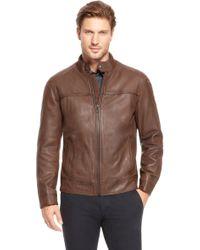 Boss Orange Jacebo Lambskin Leather Jacket - Lyst