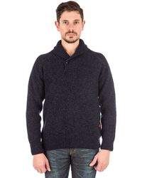 Barbour | Bransfield Shawl Neck Sweater In Navy | Lyst