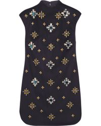 Tory Burch Carlan Embellished Woolblend Felt Mini Dress - Lyst