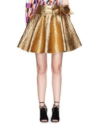 Lanvin   Wrapped Bow Cotton Lamé Flare Skirt   Lyst