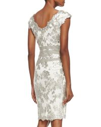 Tadashi Shoji Sleeveless Sequined Lace Overlay Cocktail Dress Feathersilver - Lyst