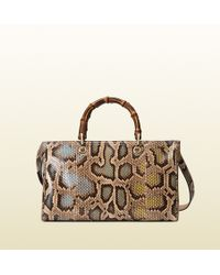 Gucci Bamboo Shopper Multicolor Python Tote - Lyst