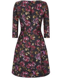 Oscar de la Renta Painted Rose Print Mikado Dress - Lyst