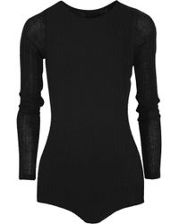 The Elder Statesman Ribbed Cashmere Bodysuit - Lyst