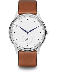 HyperGrand | Signature Silver Watch On White Dial And Tan Leather Strap | Lyst