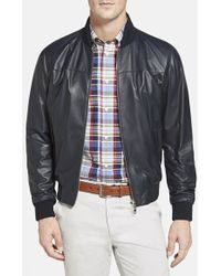 F. Faconnable Leather Bomber Jacket - Lyst