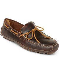 Cole Haan Dark Brown Leather Grant Driving Moccasins - Lyst