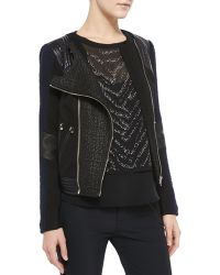 Rebecca Taylor Twotone Combo Moto Jacket - Lyst