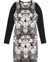 Nicole Miller Ghost Flower Long Sleeve Knit Dress - Lyst