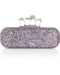 Alexander McQueen Glittered Knuckle Box Clutch - Lyst