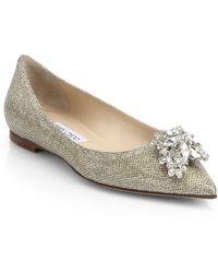 Jimmy Choo Gayne Jeweled Point-Toe Flats - Lyst