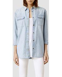 AllSaints Carter Shirt/Pale Indigo - Lyst