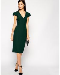 Asos Structured Dress with Deep V-neck - Lyst