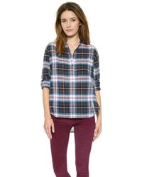 Madewell Plaid Collarless Popover Transatlantic Blue - Lyst