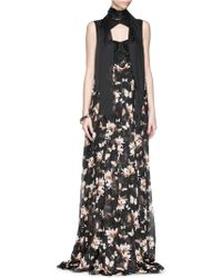 Givenchy Lace Bustier Magnolia Moth Print Silk Chiffon Gown - Lyst