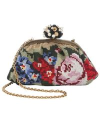 Dolce & Gabbana Leather Trimmed Floral Tweed Ball Clasp Evening Bag - Lyst