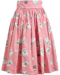 Olympia Le-Tan Book Printed Pleated Cotton Skirt - Lyst