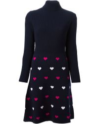 Peter Jensen Turtle Neck Heart Pattern Dress - Lyst