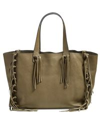 Valentino 'Crockee' Fringed Leather Tote - Lyst
