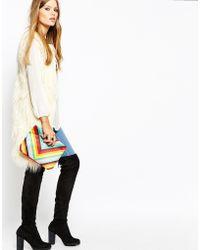 Moyna - Clutch Bag In Rainbow Chevron Print - Lyst