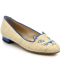 Charlotte Olympia Kitty Embroidered Raffia Flats beige - Lyst