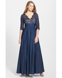 Eliza J Lace & Faille A-Line Gown - Lyst