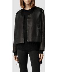 AllSaints Tassel Leather Bomber Jacket - Lyst
