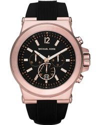 Michael Kors Dylan Silicone Strap Watch Black - Lyst