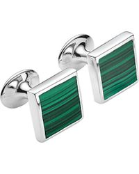 Monica Vinader - Sterling Silver And Malachite Square Cufflinks - Lyst