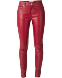 Saint Laurent Leather Skinny Trousers - Lyst