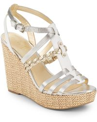 Ivanka Trump - Haiden Strappy Leather Wedges - Lyst