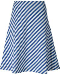 Peter Jensen Striped A-line Skirt - Lyst
