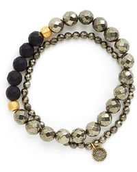 Satya Jewelry - Beaded Stretch Bracelets - Pyrite (set Of 2) - Lyst