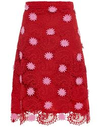 House of Holland A-Line Paisley-Lace Skirt red - Lyst