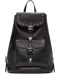 CoSTUME NATIONAL - Black Leather Studded Backpack - Lyst