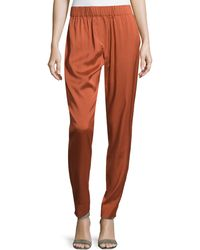 Halston Heritage Smocked-waist Silk Twill Pants - Lyst
