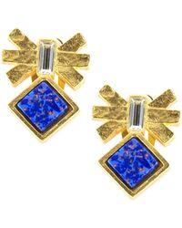 Gerard Yosca - Mesa Eagle Lapis And Swarovski Crystal Stud Earrings - Lyst
