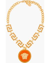 Versace Gold And Orange Pendant Necklace orange - Lyst