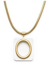 Tory Burch Oval Pendant Chain Necklace - Lyst