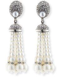Jose & Maria Barrera | Pearly Tassel Drop Clip Earrings | Lyst