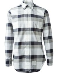 Thom Browne White Checked Shirt - Lyst