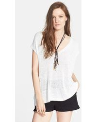 Free People 'Easy Tea' Short Sleeve Sweater white - Lyst