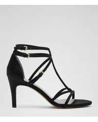 Reiss Laurel Strappy T Bar Sandals - Lyst