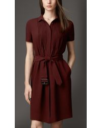 Burberry Silk Georgette Shirt Dress - Lyst