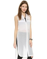 Helmut Lang Swift Sleeveless Shirt - White - Lyst