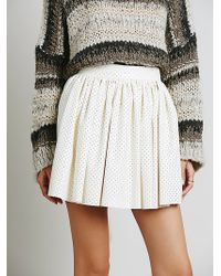 Free People Benson Vegn Leather Skirt - Lyst