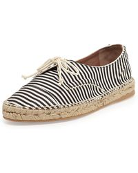 Tabitha Simmons Dolly Striped Espadrille Lace Up Flat - Lyst