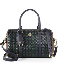 Tory Burch Robinson Woven Leather Small Satchel - Lyst
